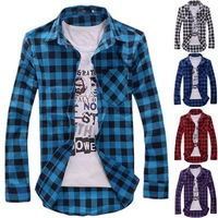 2014 New Hot Men's Casual Slim fit Stylish Dress Long Sleeve Shirts,men's plaid shirt 5 colors Free shipping