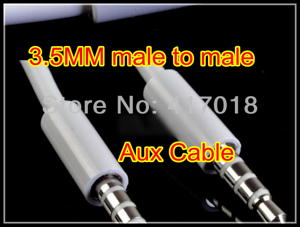White 1M 3FT 3.5MM Jack Stereo Aux Car Audio Cable Extension male to male Lead for Iphone mobile phone MP3 MP4 Speaker(China (Mainland))