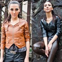 Short jacket autumn fashion leather clothing coat omp099