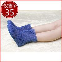 HOT women spring summer knitted cutout boots net fabric cool boot  medium-leg boots rubber sole single boots Shoes best gift