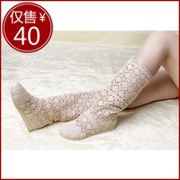 NEW !!! Summer crotch cow muscle boots outsole tube cutout boots knitted cool boots plus size gentlewomen cutout single boots
