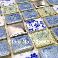 Blue ceramic porcelain mosaic kitchen wall tiles backsplash PCMT104 bathroom porcelain floor tiles ceramic mosaic tiles