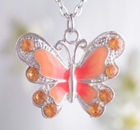 Free Shipping! 1 pc/ lot  Beautiful Enamel Silver Plated Yellow Butterfly Crystal Pendant Necklace&Bracelet