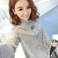 Spring 2014 one-piece dress lace cloak puff long-sleeve basic