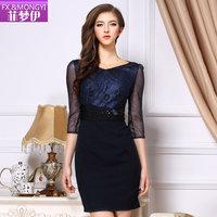 2014 spring and summer fashion women's 7 V-neck beading gauze print high waist one-piece dress bodycon