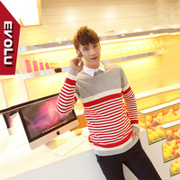 Free Evolu2014 spring male sweater pullover teenage slim sweater stripe cotton thread clothing