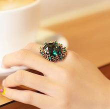 Fashion vintage crystal luxury royal decoration ring blue ruby women's ring