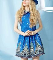 Spring fashion national trend vintage plus size one-piece dress a basic one-piece dress turn-down collar royal princess dress