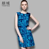 2014 spring fashion print slim sleeveless vest one-piece dress