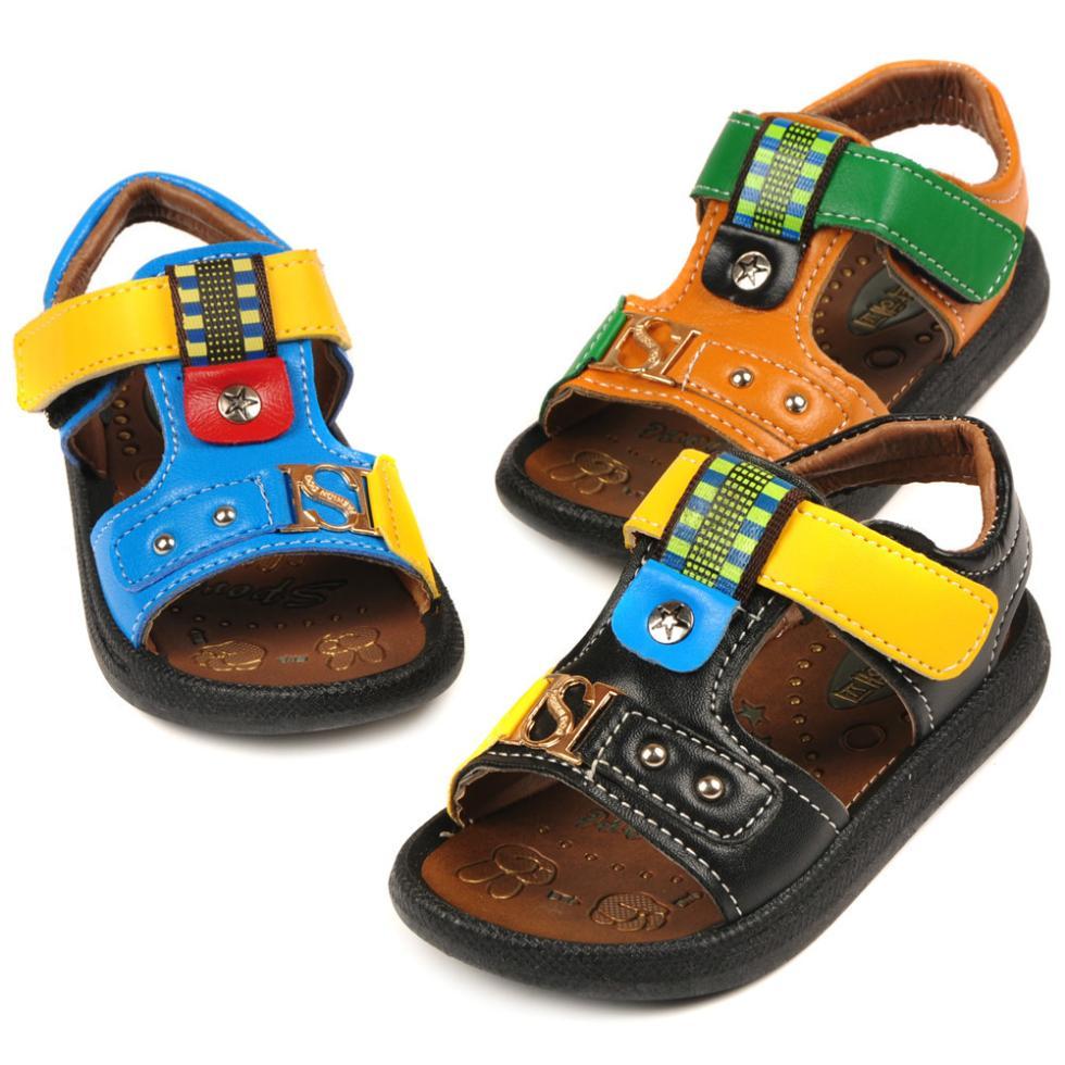 Black sandals for toddler boy - 20 25 Size Summer Children S Sandal Shoes 2015 Baby Boys Children Leather Sandals Cartoon Duck Casual Sandals Shoes Kids