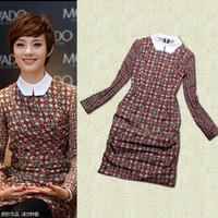 Spring women's fashion vintage star print elegant turn-down collar slim one-piece dress