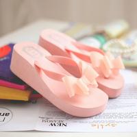 2014 flip flops bow women's wedges high-heeled shoes summer flat sandals platform slippers