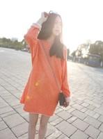 2014 spring female fashion loose long-sleeve sweatshirt medium-long op one-piece dress strapless orange can