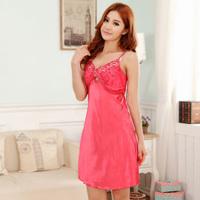 Nightgown female sexy sleepwear women's spring and summer cute spaghetti strap nightgown faux silk nightgown sleepwear