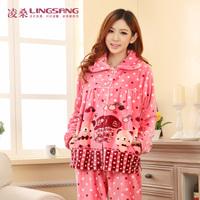 Flannel winter sleepwear thickening coral fleece sleepwear mink velvet lounge