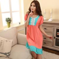 Nightgown female woven 100% cotton short-sleeve lounge sleepwear plus size loose modal 100% cotton nightgown