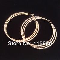 Fashion metal alloy round shinning silver hoop earrings rhodium big earrings for women 50mm diameter exaggerate party earrings