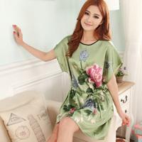 Nightgown female summer sexy sleepwear faux silk plus size loose sleepwear spring and autumn summer short-sleeve lounge