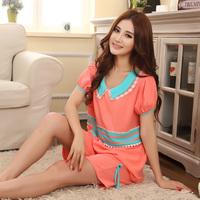 2014 sleepwear woven 100% cotton sleep set artificial cotton short-sleeve lounge sleepwear fabric