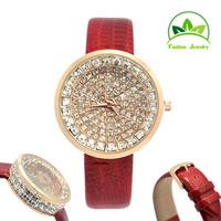 High Quality New Luxury Bling Bling Crystal Genuine Leather Watch Women Ladies Fashion Dress Quartz Wrist Watch GO090