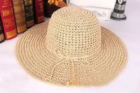 10pcs 2014 Women Blank Floppy Wide Brimmed Paper Straw Hats Ladies Plain Big Summer Sun Hat Womens Beach Cap Lady LargeBrim Caps