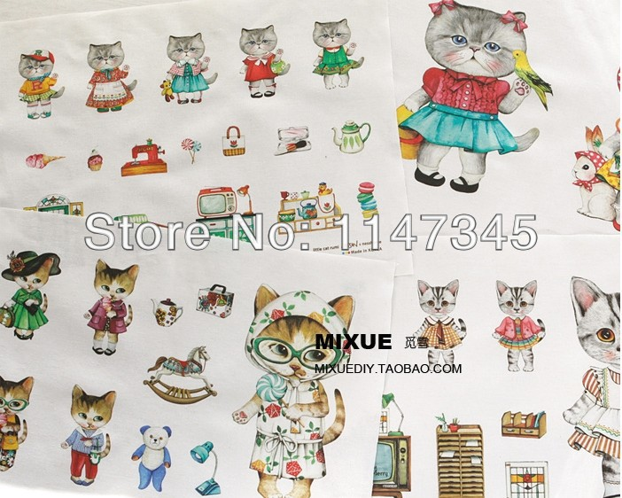 CF117 South Korea one of linen - cotton linen cloth hand Miss Kitty DIY price 120CM*140CM. free postage(China (Mainland))