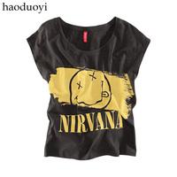 women Nirvana smiley letter print black t-shirt 6 full  size