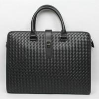 2014 new man bag hand woven woven calfskin briefcase Mobile Messenger shipping