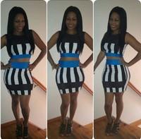 womens dresses two piece bodycon plus size bandage dress celebrity dresses clubwear Stripe sexy plus size club dress size S-M