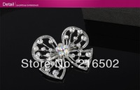 Free shipping lot of 6pcs fashionable brooch crystal breastpin butterfly knot brooch