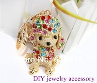10pcs New Cute Poodle Dog With Animal mix color Crystal KeyChain Ring Free Shipping.