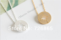 2014 Fashion 18k Gold silver simple compass necklaces-Free Shipping