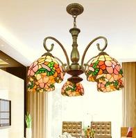 Tiffany lamps fashion rustic pendant light restaurant lamp living room lights classical rich flowers 5 pendant light