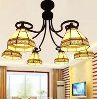 Brief tiffany ceiling light modern pendant light bulls color glass 6 ceiling light