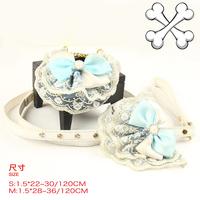 Blue lace diamond decoration pet bib collar leash