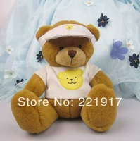 Hooded dress factory direct plush teddy bear toy doll sitting height 13.5CM