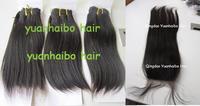 top 6a quality 4pcs/lot #1b virgin peruvian straight human hair lace closure with bundles Free shipping mixed length