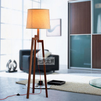 Lighting american hemp brief mahogany rotary solid wood fabric floor lamp