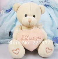 Priced at wholesale valentine plush toy birthday gift LOVE love teddy bear holding heart 15cm