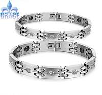Free Shipping Germanium Power  Bracelet Charm Balance Stainless Steel Italian man Bracelets&Bangle For Women And Men Jewelry