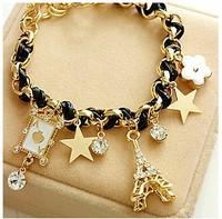 Min order is $10(mix order)Fashion flower love poker bracelet star Eiffel Tower pendant women charm bracelets