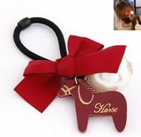 Han edition fashion cartoon small Trojan ribbon bowknot pearl hair rope+Free shipping#11030654