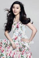 2014 summer new western women print dresses Fan Bingbing model elegant long pleated dress lady cute floral dresses short sleeves