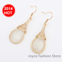Min Order $10,2014 Fashion Designer statement earrings,Gold Plated eye cats Drop Earrings for women,E35