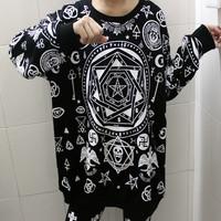Harajuku five-pointed star hexagram skull geometry loose long-sleeve T-shirt bf