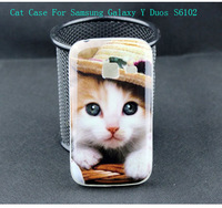 Cute Cat an Sexy Women Painting Mobile Back Battery Cover Case For Samsung Galaxy Y Duos S6102 High Quality 3D Phone Case Retail