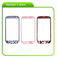 free shipping   10pcs/lot  colorful  For Samsung Galaxy S3 S 3 i9300 replacement  Touch Screen Lens Front Glass