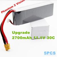 Free shipping Upgrade DJI Phantom 2 Vision 2700mah 11.1v 30c  RC LiPo Li-Poly Battery  for DJI Phantom FC40 with XT60
