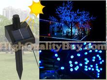nuevo de energía solar 60 llevó cadena de hadas luz azul navidad jardín(China (Mainland))