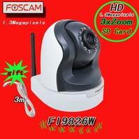 Foscam FI9826W 3x zoom 1.3Megapixel HD Pan/Tilt Wired/Wireless IP Camera Free DDNS Supports Micro SD Card storage